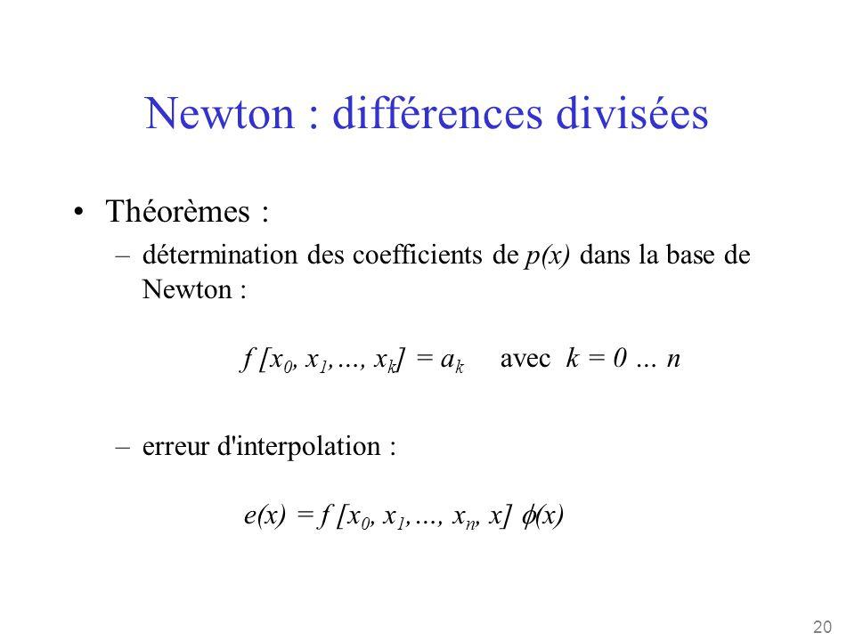 20 Newton : différences divisées •Théorèmes : –détermination des coefficients de p(x) dans la base de Newton : f [x 0, x 1,…, x k ] = a k avec k = 0 …