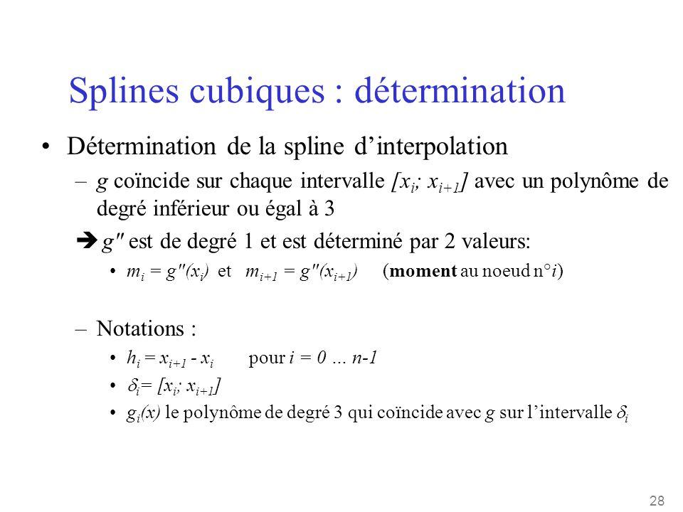 28 Splines cubiques : détermination •Détermination de la spline d'interpolation –g coïncide sur chaque intervalle [x i ; x i+1 ] avec un polynôme de d