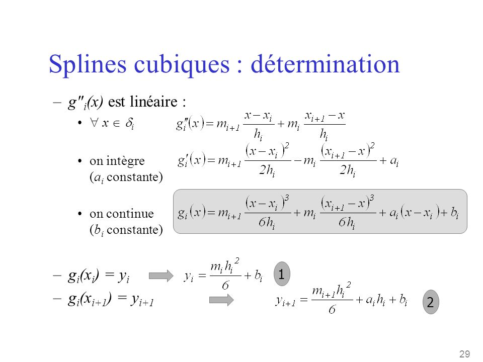 29 Splines cubiques : détermination –g