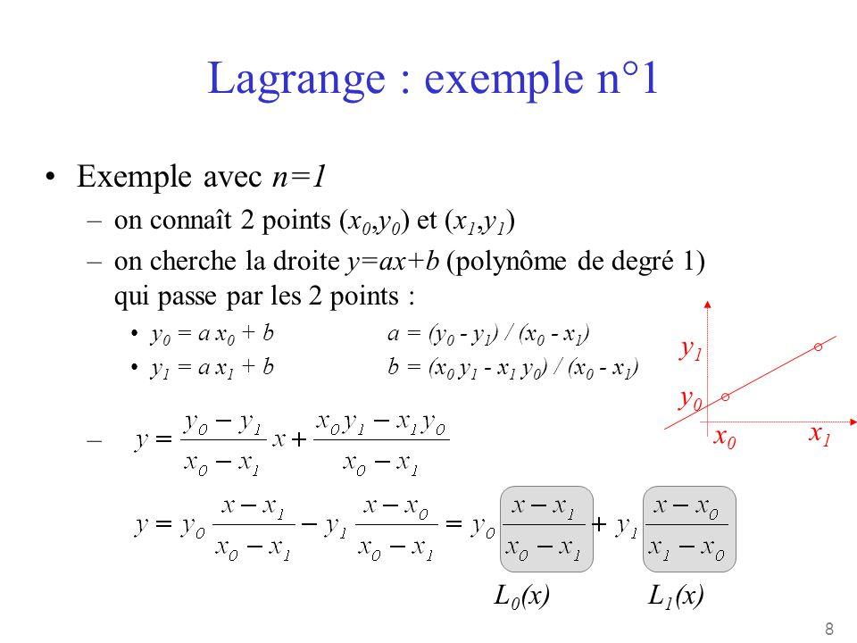 8 •Exemple avec n=1 –on connaît 2 points (x 0,y 0 ) et (x 1,y 1 ) –on cherche la droite y=ax+b (polynôme de degré 1) qui passe par les 2 points : •y 0