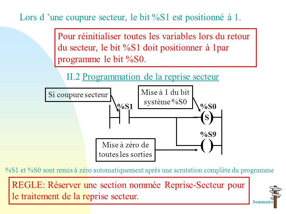 II. Initialisation de l 'automate II.1 Traitement sur Coupure et Reprise Secteur a) Reprise à « CHAUD » b) Reprise à « FROID » Lors de la reprise sect