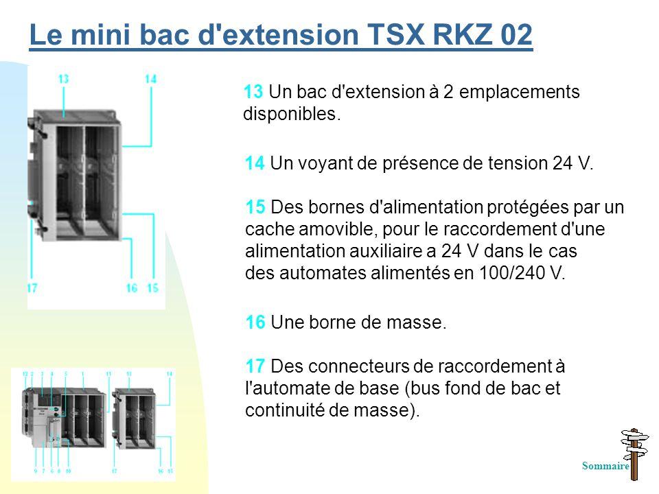 Le mini bac d extension TSX RKZ 02 15 Des bornes d alimentation protégées par un cache amovible, pour le raccordement d une alimentation auxiliaire a 24 V dans le cas des automates alimentés en 100/240 V.