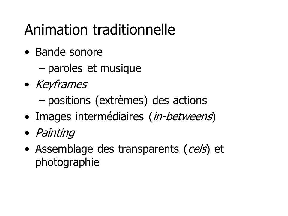 Animation traditionnelle •Bande sonore –paroles et musique •Keyframes –positions (extrèmes) des actions •Images intermédiaires (in-betweens) •Painting •Assemblage des transparents (cels) et photographie