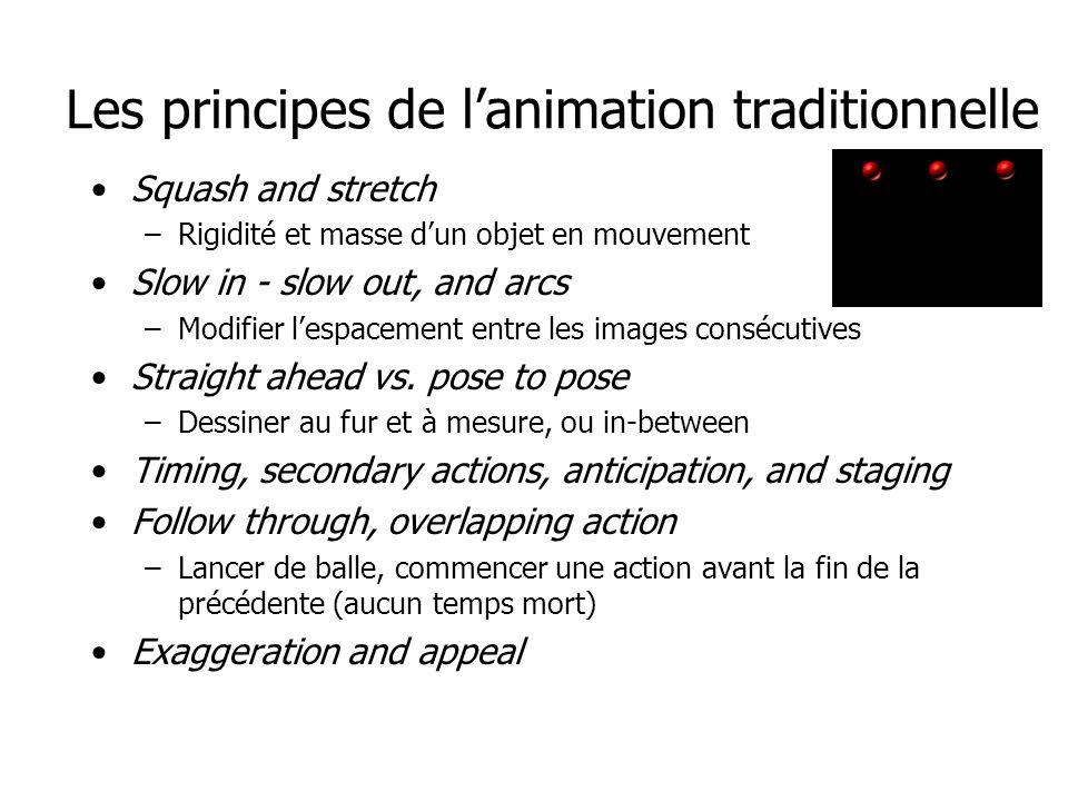 Les principes de l'animation traditionnelle •Squash and stretch –Rigidité et masse d'un objet en mouvement •Slow in - slow out, and arcs –Modifier l'espacement entre les images consécutives •Straight ahead vs.