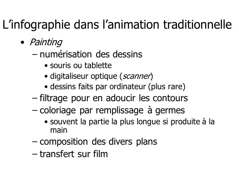 L'infographie dans l'animation traditionnelle •Painting –numérisation des dessins •souris ou tablette •digitaliseur optique (scanner) •dessins faits p