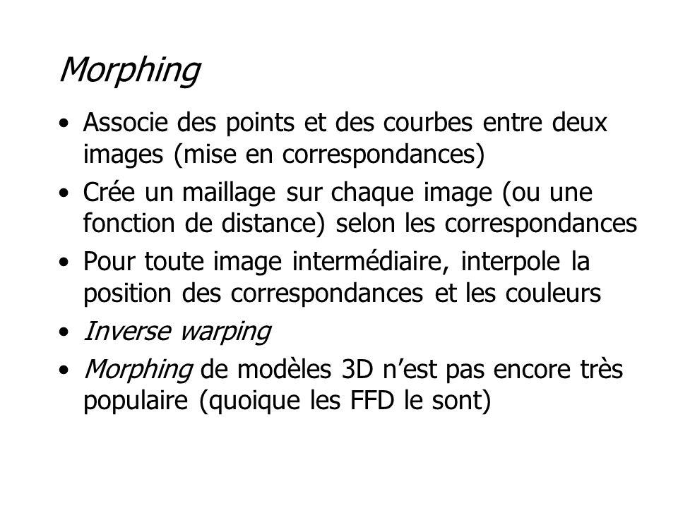Morphing •Associe des points et des courbes entre deux images (mise en correspondances) •Crée un maillage sur chaque image (ou une fonction de distance) selon les correspondances •Pour toute image intermédiaire, interpole la position des correspondances et les couleurs •Inverse warping •Morphing de modèles 3D n'est pas encore très populaire (quoique les FFD le sont)