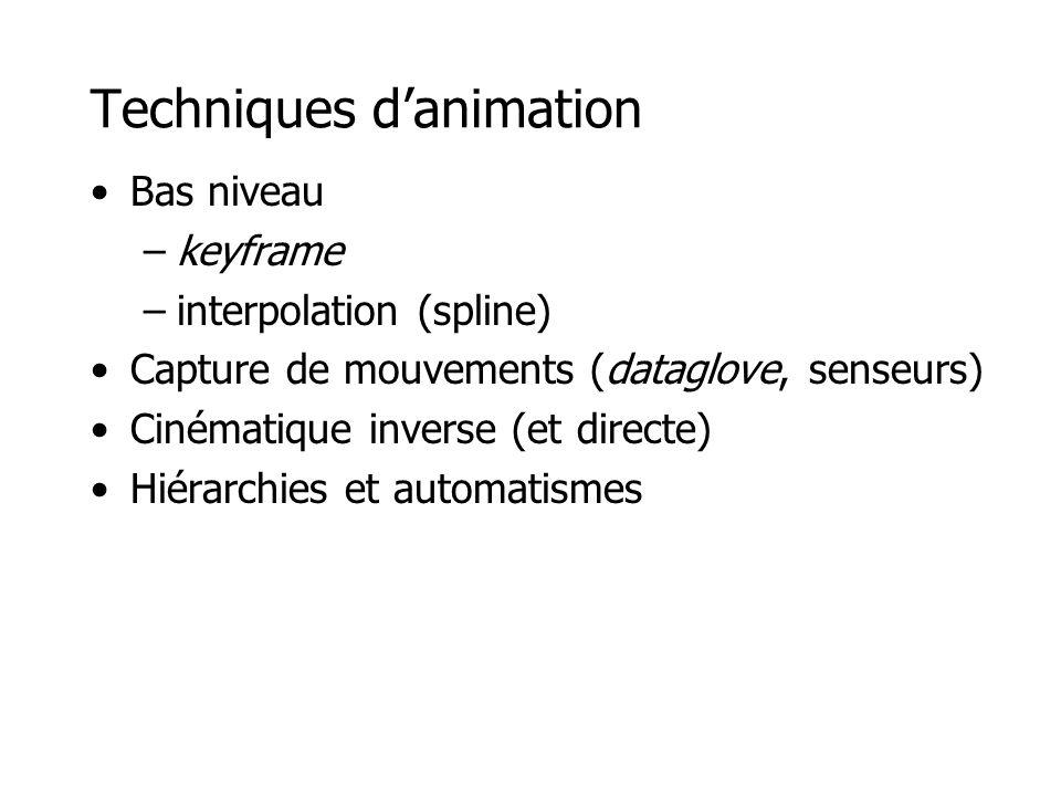 Techniques d'animation •Bas niveau –keyframe –interpolation (spline) •Capture de mouvements (dataglove, senseurs) •Cinématique inverse (et directe) •Hiérarchies et automatismes