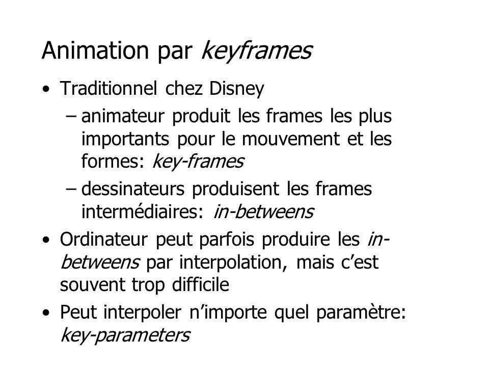 Animation par keyframes •Traditionnel chez Disney –animateur produit les frames les plus importants pour le mouvement et les formes: key-frames –dessinateurs produisent les frames intermédiaires: in-betweens •Ordinateur peut parfois produire les in- betweens par interpolation, mais c'est souvent trop difficile •Peut interpoler n'importe quel paramètre: key-parameters