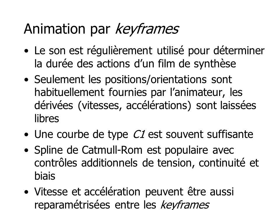 Animation par keyframes •Le son est régulièrement utilisé pour déterminer la durée des actions d'un film de synthèse •Seulement les positions/orientat