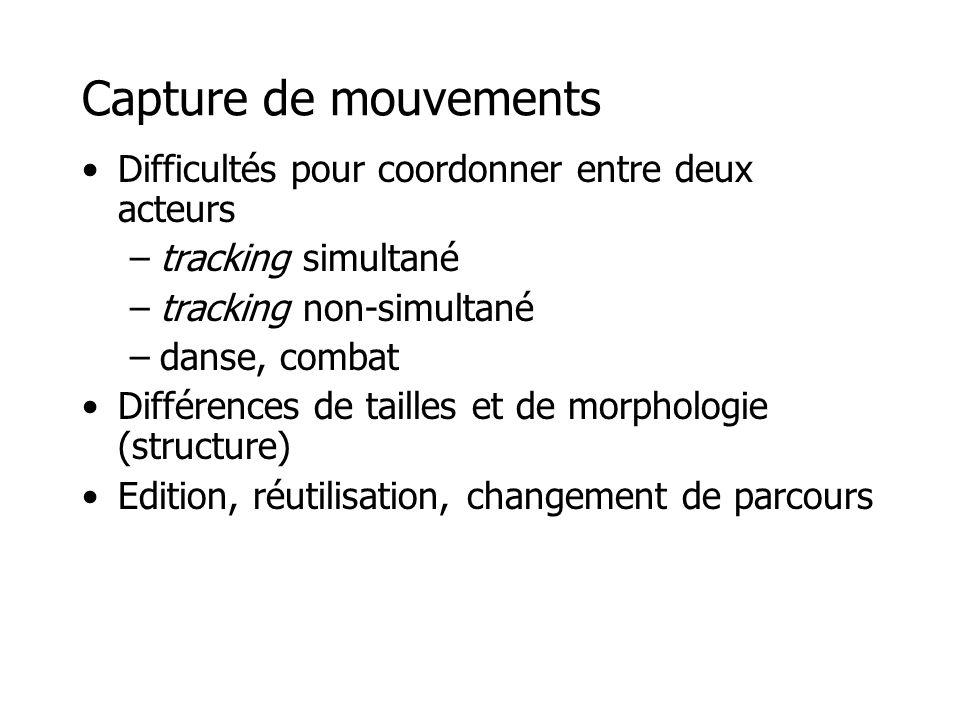 Capture de mouvements •Difficultés pour coordonner entre deux acteurs –tracking simultané –tracking non-simultané –danse, combat •Différences de taill