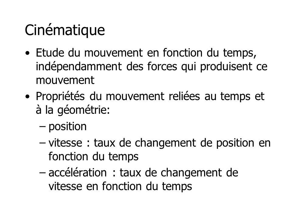 Cinématique •Etude du mouvement en fonction du temps, indépendamment des forces qui produisent ce mouvement •Propriétés du mouvement reliées au temps et à la géométrie: –position –vitesse : taux de changement de position en fonction du temps –accélération : taux de changement de vitesse en fonction du temps