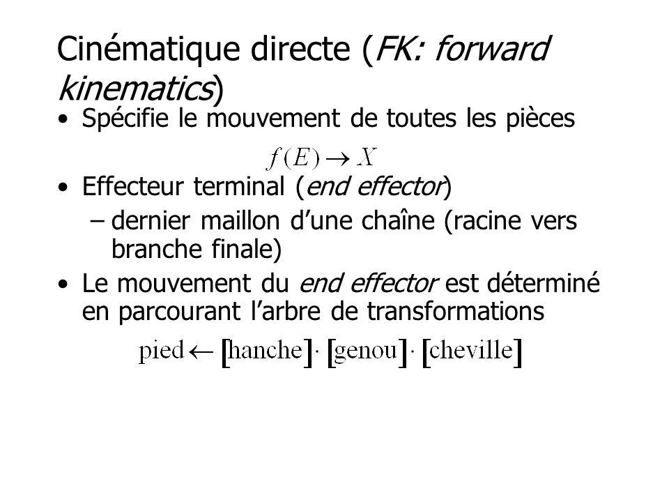 Cinématique directe (FK: forward kinematics) •Spécifie le mouvement de toutes les pièces •Effecteur terminal (end effector) –dernier maillon d'une chaîne (racine vers branche finale) •Le mouvement du end effector est déterminé en parcourant l'arbre de transformations