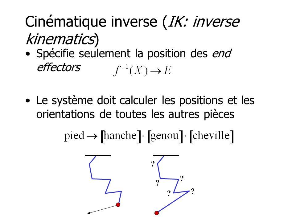 Cinématique inverse (IK: inverse kinematics) •Spécifie seulement la position des end effectors •Le système doit calculer les positions et les orientations de toutes les autres pièces .