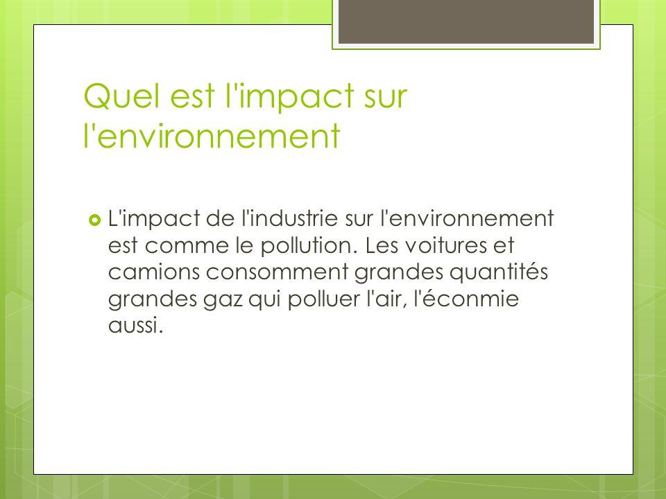 Quel est l'impact sur l'environnement  L'impact de l'industrie sur l'environnement est comme le pollution. Les voitures et camions consomment grandes