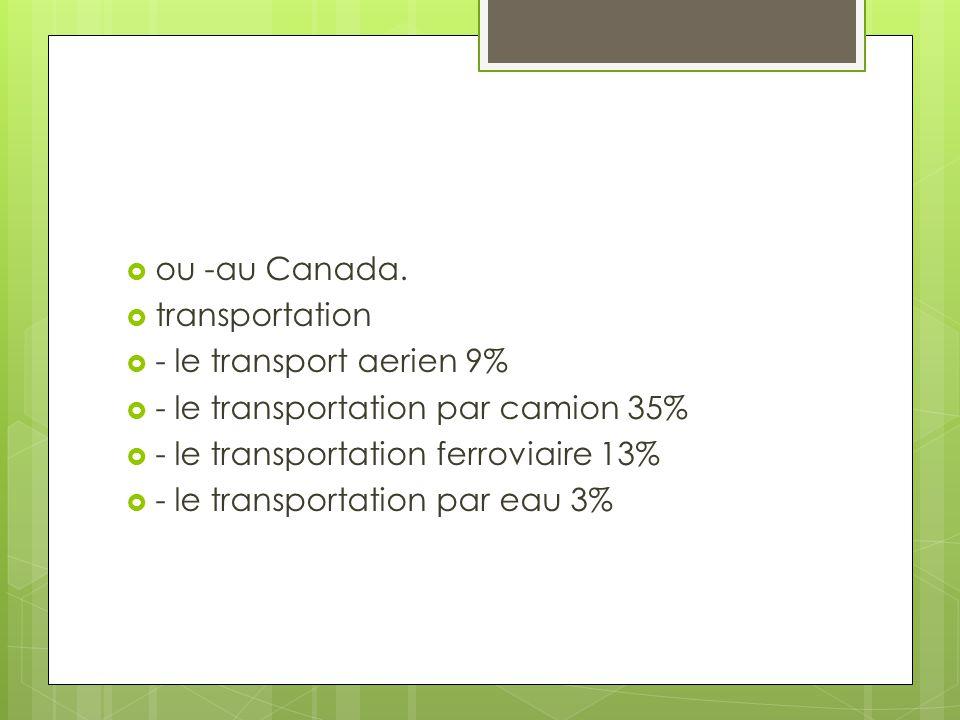  ou -au Canada.  transportation  - le transport aerien 9%  - le transportation par camion 35%  - le transportation ferroviaire 13%  - le transpo