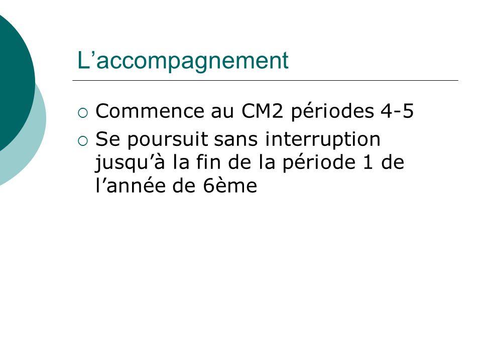 L'accompagnement  Commence au CM2 périodes 4-5  Se poursuit sans interruption jusqu'à la fin de la période 1 de l'année de 6ème