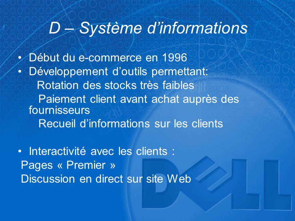 D – Système d'informations •Début du e-commerce en 1996 •Développement d'outils permettant: Rotation des stocks très faibles Paiement client avant ach