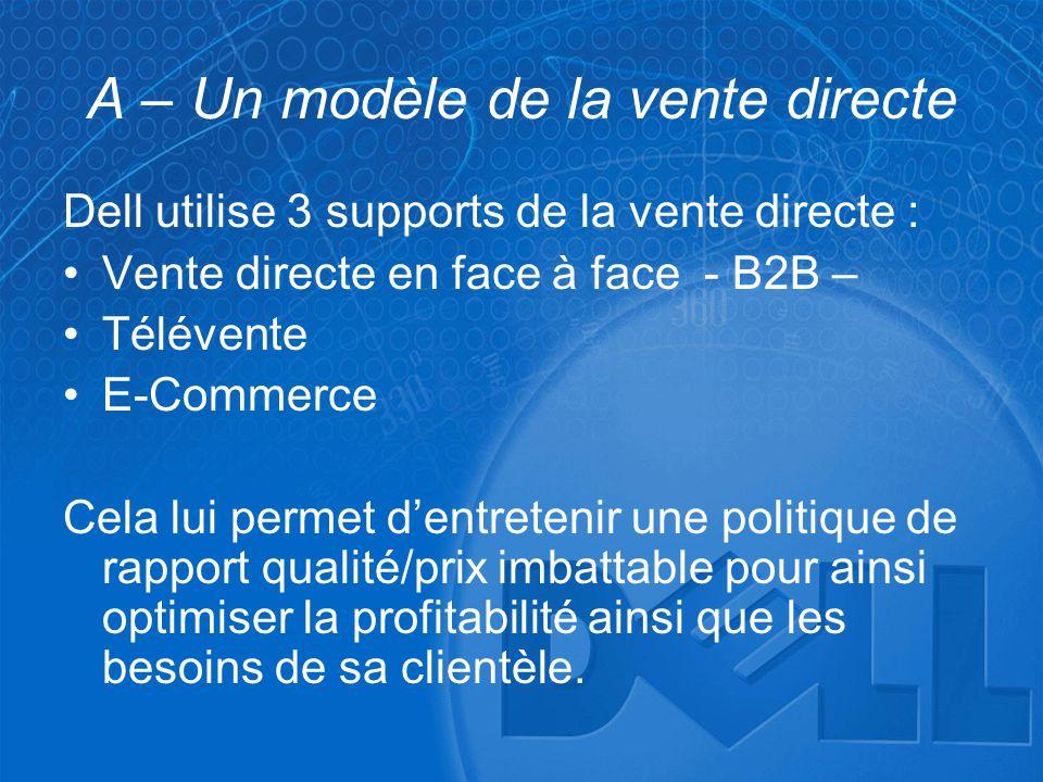 A – Un modèle de la vente directe Dell utilise 3 supports de la vente directe : •Vente directe en face à face - B2B – •Télévente •E-Commerce Cela lui