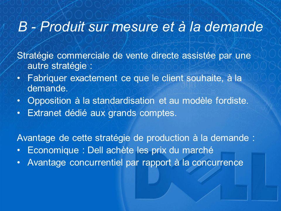 B - Produit sur mesure et à la demande Stratégie commerciale de vente directe assistée par une autre stratégie : •Fabriquer exactement ce que le clien