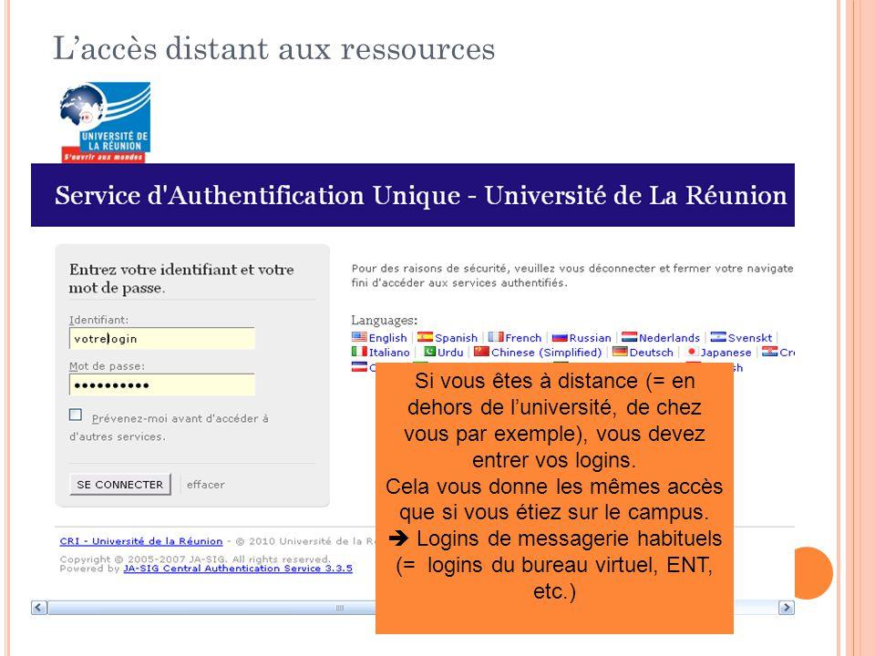L'accès distant aux ressources Si vous êtes à distance (= en dehors de l'université, de chez vous par exemple), vous devez entrer vos logins.
