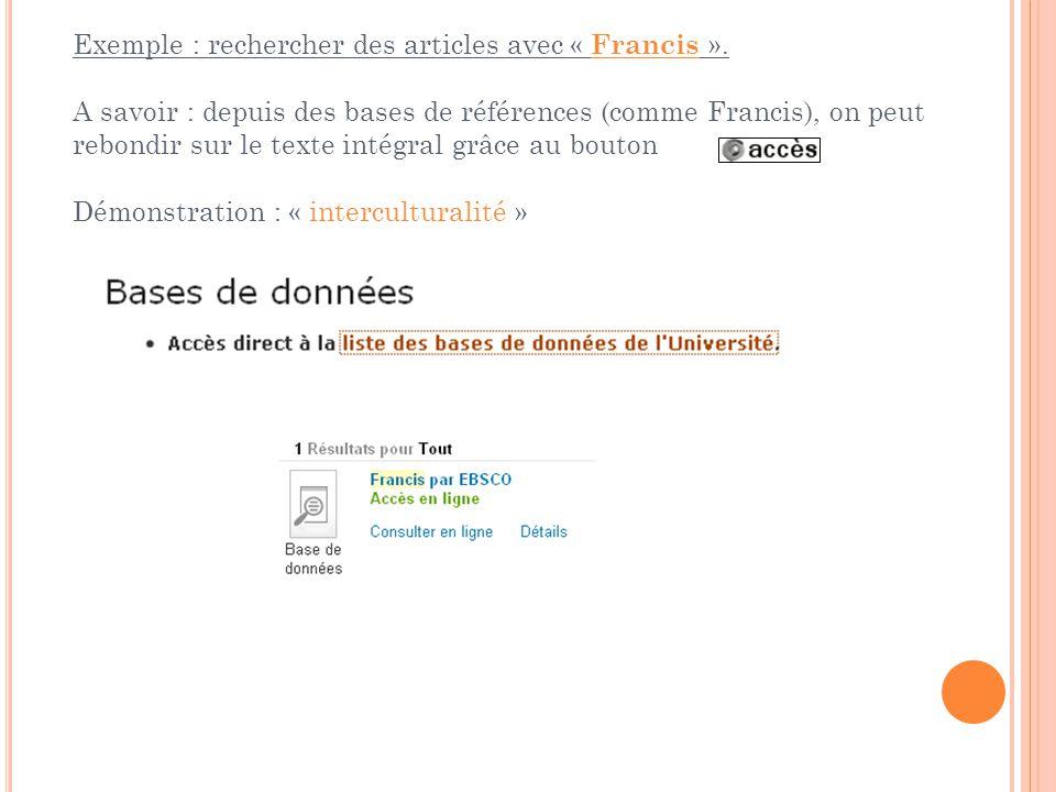 Exemple : rechercher des articles avec « Francis ».