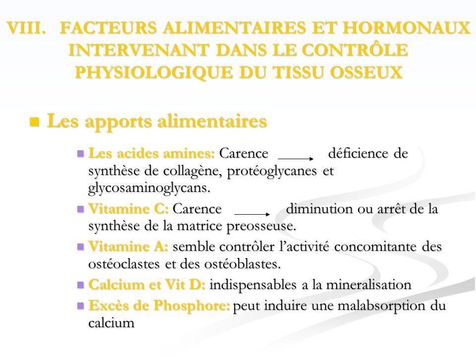  Les apports alimentaires  Les acides amines: Carence déficience de synthèse de collagène, protéoglycanes et glycosaminoglycans.