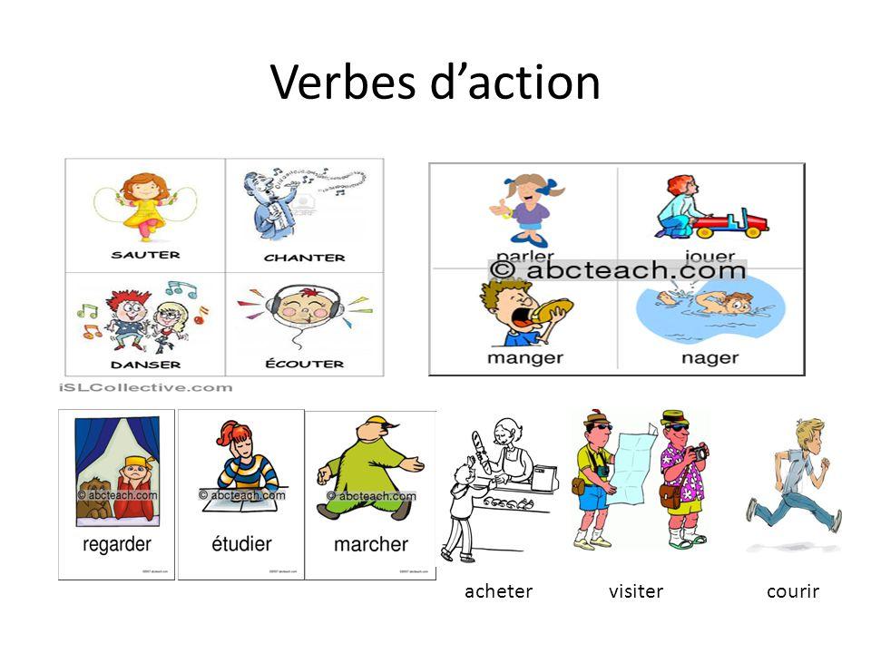 Verbes d'action visiterachetercourir