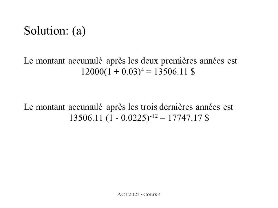 ACT2025 - Cours 4 Le montant accumulé après les deux premières années est 12000(1 + 0.03) 4 = 13506.11 $ Le montant accumulé après les trois dernières années est 13506.11 (1 - 0.0225) -12 = 17747.17 $ Solution: (a)