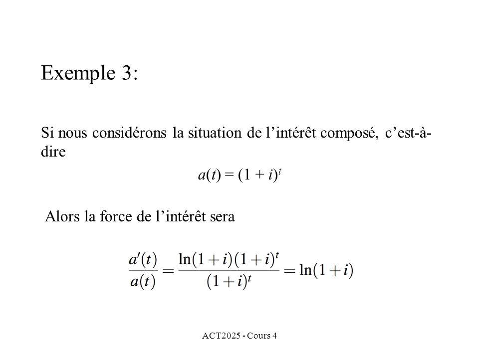 ACT2025 - Cours 4 Si nous considérons la situation de l'intérêt composé, c'est-à- dire a(t) = (1 + i) t Alors la force de l'intérêt sera Exemple 3: