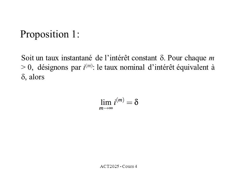 ACT2025 - Cours 4 Soit un taux instantané de l'intérêt constant  Pour chaque m > 0, désignons par i (m) : le taux nominal d'intérêt équivalent à , alors Proposition 1:
