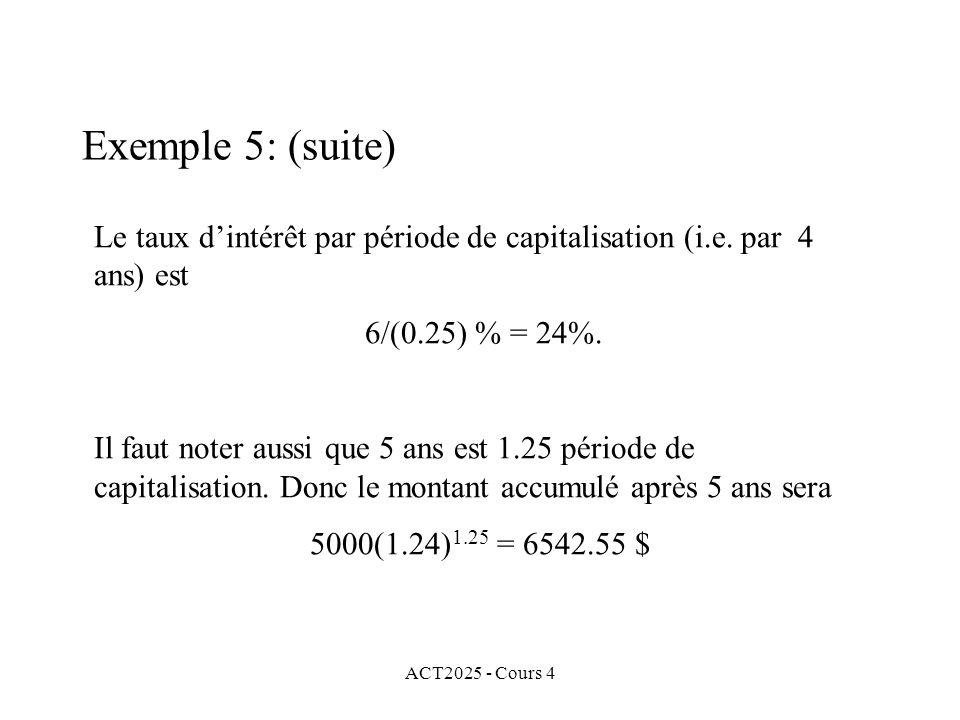 ACT2025 - Cours 4 Exemple 5: (suite) Le taux d'intérêt par période de capitalisation (i.e.