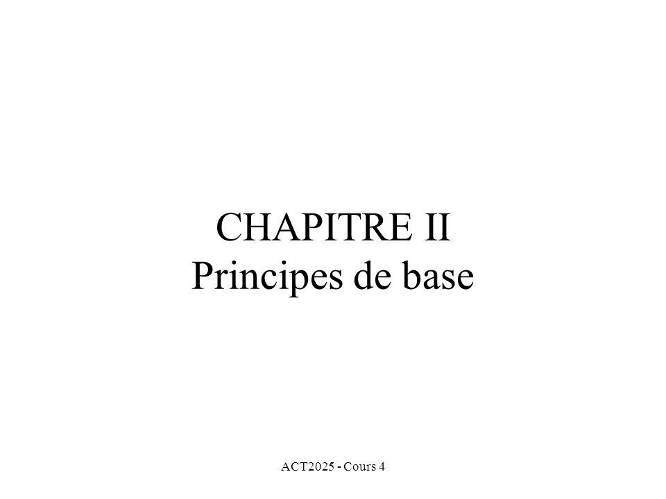 ACT2025 - Cours 4 CHAPITRE II Principes de base