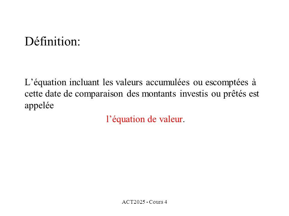 ACT2025 - Cours 4 Définition: L'équation incluant les valeurs accumulées ou escomptées à cette date de comparaison des montants investis ou prêtés est appelée l'équation de valeur.