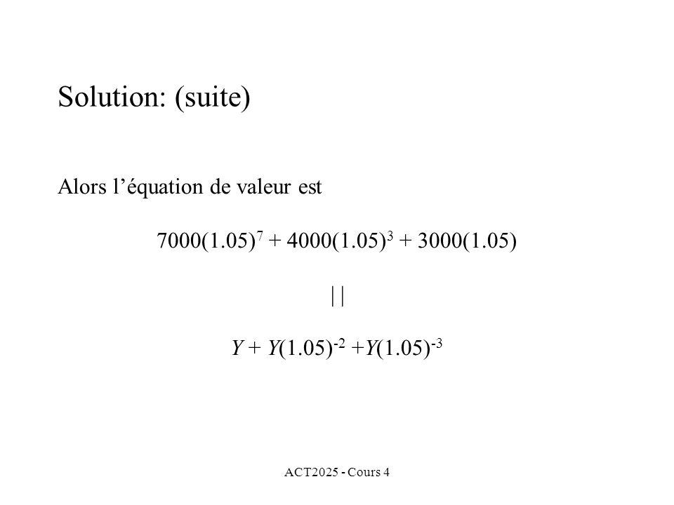 ACT2025 - Cours 4 Alors l'équation de valeur est 7000(1.05) 7 + 4000(1.05) 3 + 3000(1.05) | Y + Y(1.05) -2 +Y(1.05) -3 Solution: (suite)