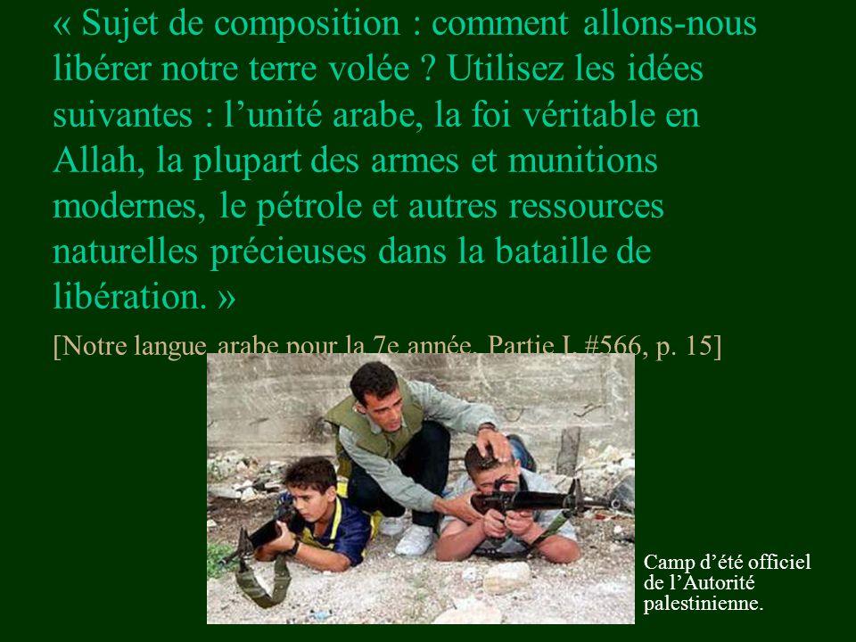 « Sujet de composition : comment allons-nous libérer notre terre volée ? Utilisez les idées suivantes : l'unité arabe, la foi véritable en Allah, la p