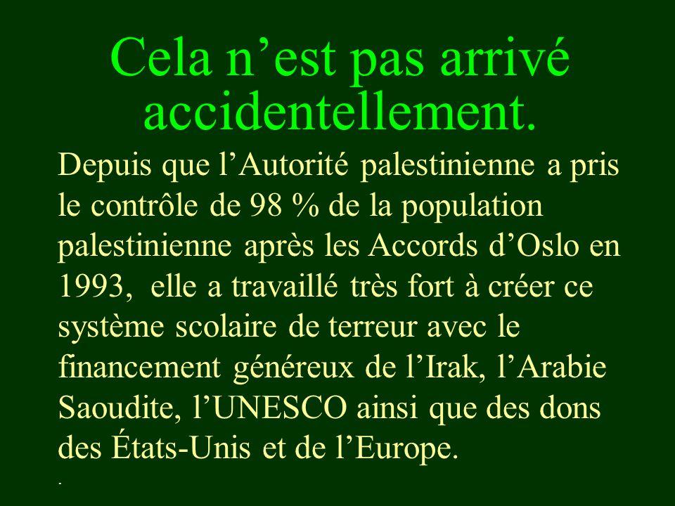 Cela n'est pas arrivé accidentellement. Depuis que l'Autorité palestinienne a pris le contrôle de 98 % de la population palestinienne après les Accord