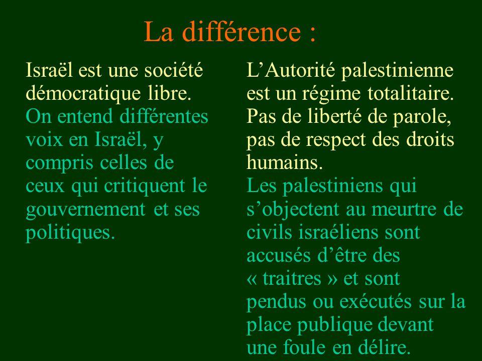 La différence : Israël est une société démocratique libre. On entend différentes voix en Israël, y compris celles de ceux qui critiquent le gouverneme