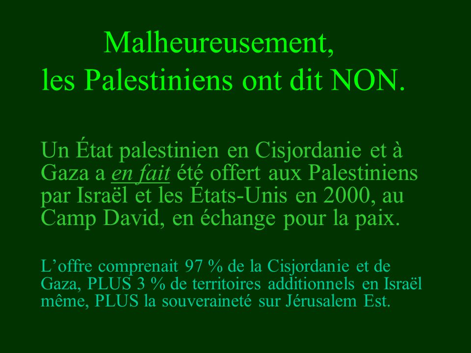 Un État palestinien en Cisjordanie et à Gaza a en fait été offert aux Palestiniens par Israël et les États-Unis en 2000, au Camp David, en échange pou