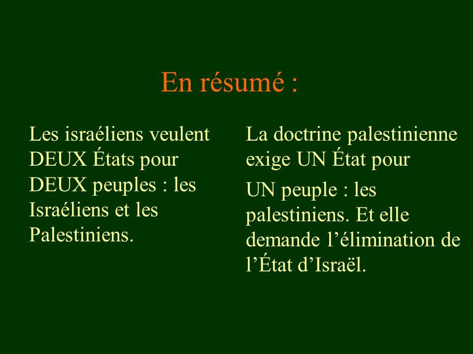 En résumé : Les israéliens veulent DEUX États pour DEUX peuples : les Israéliens et les Palestiniens. La doctrine palestinienne exige UN État pour UN