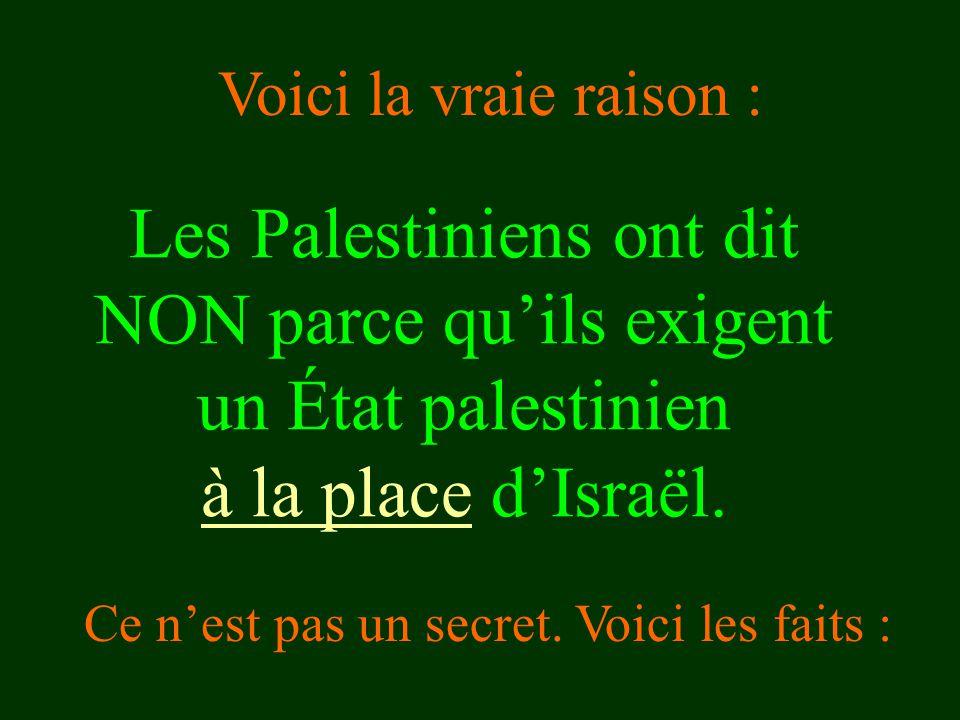 Les Palestiniens ont dit NON parce qu'ils exigent un État palestinien à la place d'Israël. Ce n'est pas un secret. Voici les faits : Voici la vraie ra