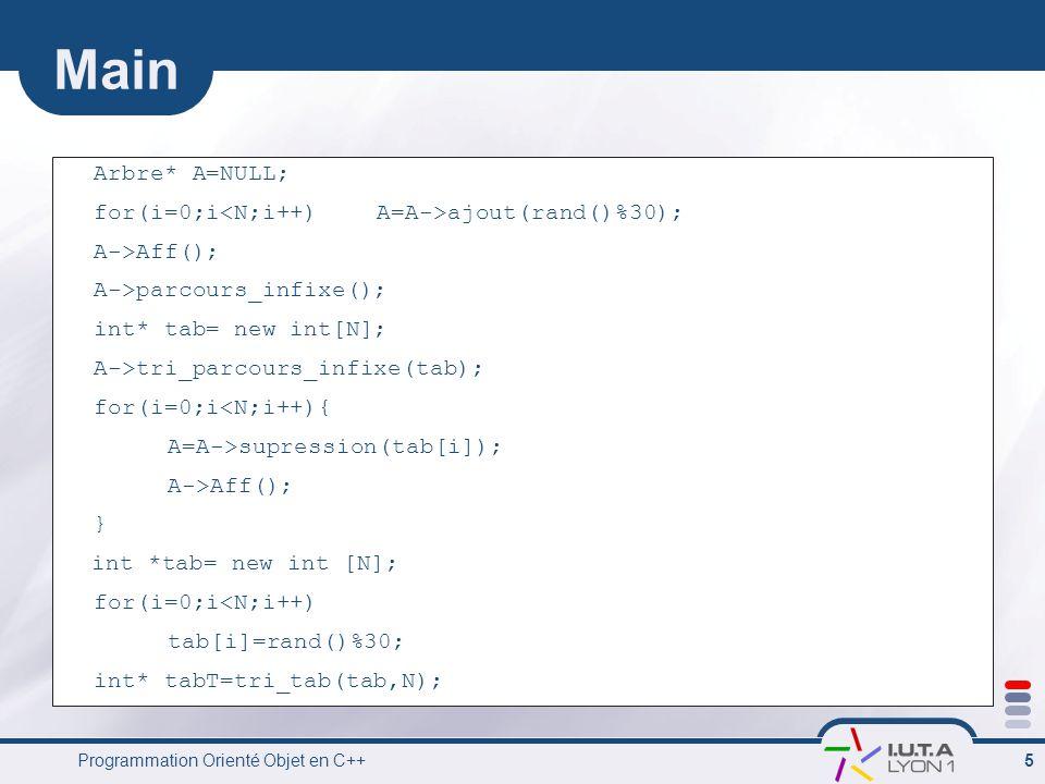 Programmation Orienté Objet en C++ 5 Main Arbre* A=NULL; for(i=0;i ajout(rand()%30); A->Aff(); A->parcours_infixe(); int* tab= new int[N]; A->tri_parcours_infixe(tab); for(i=0;i<N;i++){ A=A->supression(tab[i]); A->Aff(); } int *tab= new int [N]; for(i=0;i<N;i++) tab[i]=rand()%30; int* tabT=tri_tab(tab,N);