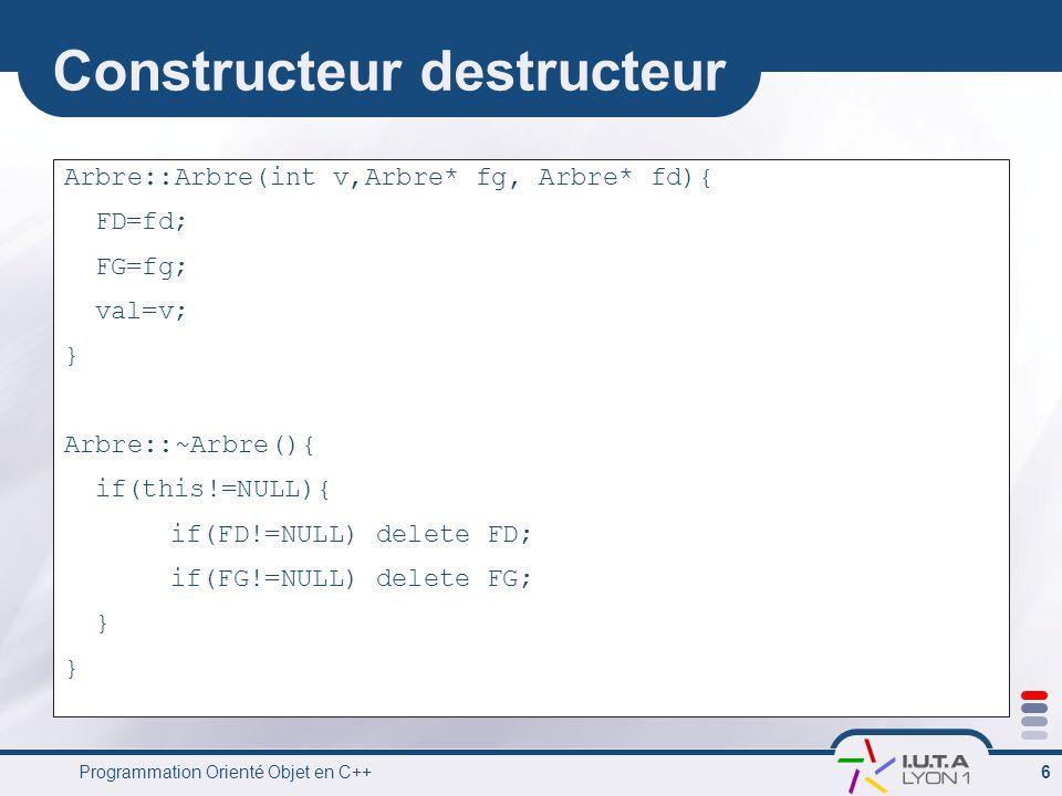 Programmation Orienté Objet en C++ 6 Constructeur destructeur Arbre::Arbre(int v,Arbre* fg, Arbre* fd){ FD=fd; FG=fg; val=v; } Arbre::~Arbre(){ if(this!=NULL){ if(FD!=NULL) delete FD; if(FG!=NULL) delete FG; }