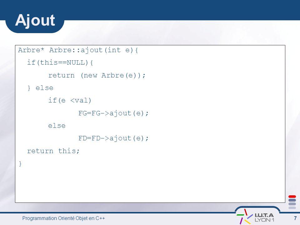 Programmation Orienté Objet en C++ 8 Affichage void Arbre::Aff(int i){ if(this==NULL) cout << {} ; else { cout << { << val << , ; FG->Aff(i+1); cout << , ; FD->Aff(i+1); cout << } ; } if(i==0) cout<< endl; }