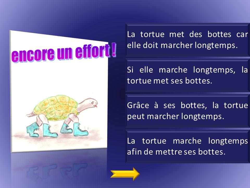 La tortue met des bottes car elle doit marcher longtemps.