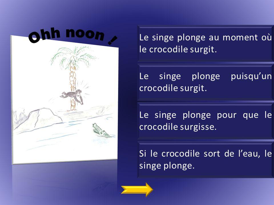 Le singe plonge au moment où le crocodile surgit.Le singe plonge puisqu'un crocodile surgit.