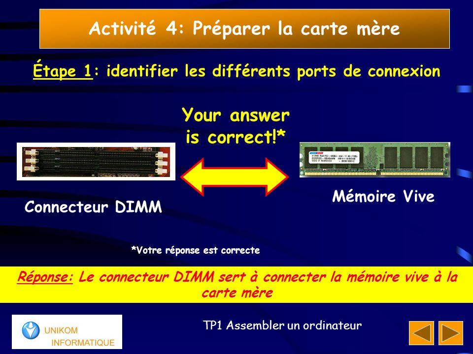 10 TP1 Assembler un ordinateur Activité 4: Préparer la carte mère Étape 1: identifier les différents ports de connexion Réponse: Le connecteur DIMM se