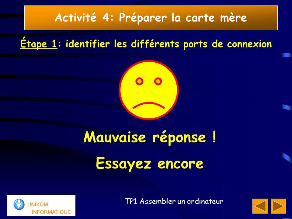 11 TP1 Assembler un ordinateur Activité 4: Préparer la carte mère Étape 1: identifier les différents ports de connexion Mauvaise réponse ! Essayez enc