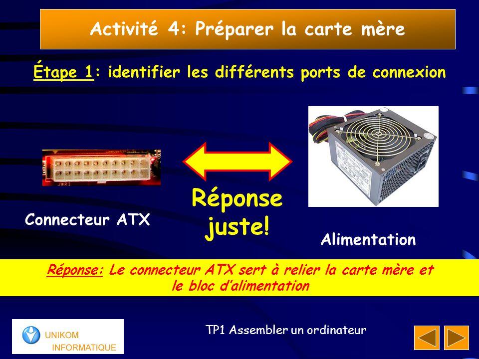 13 TP1 Assembler un ordinateur Activité 4: Préparer la carte mère Étape 1: identifier les différents ports de connexion Réponse: Le connecteur ATX ser