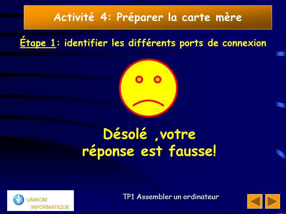 14 TP1 Assembler un ordinateur Activité 4: Préparer la carte mère Étape 1: identifier les différents ports de connexion Désolé,votre réponse est fauss
