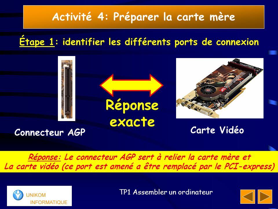 16 TP1 Assembler un ordinateur Activité 4: Préparer la carte mère Étape 1: identifier les différents ports de connexion Réponse: Le connecteur AGP ser